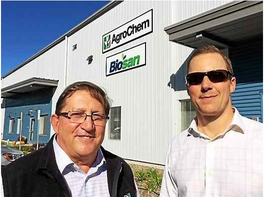 John DeMarco, left, founded AgroChem to provide products for the dairy industry. His son, Robert, is company president. The firm recently moved into new facilities at Grande Industrial Park.
