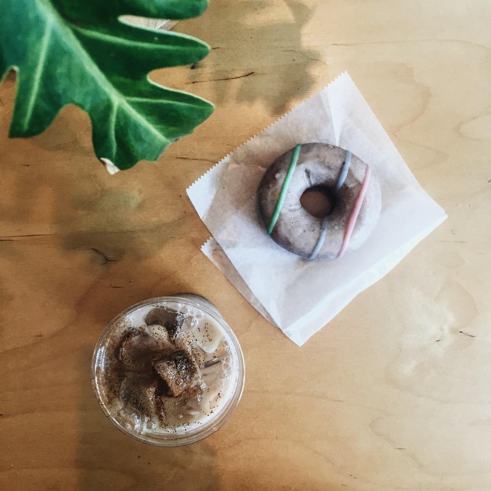 Lavender donut & chai latte at Sweatshop
