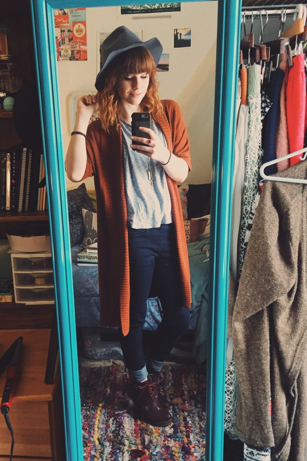 hat: Ross $8 / shirt: hand-me-down / cardigan: Goodwill / necklace: $5 / jeans: Rue 21 $3 / boots: Goodwill $10