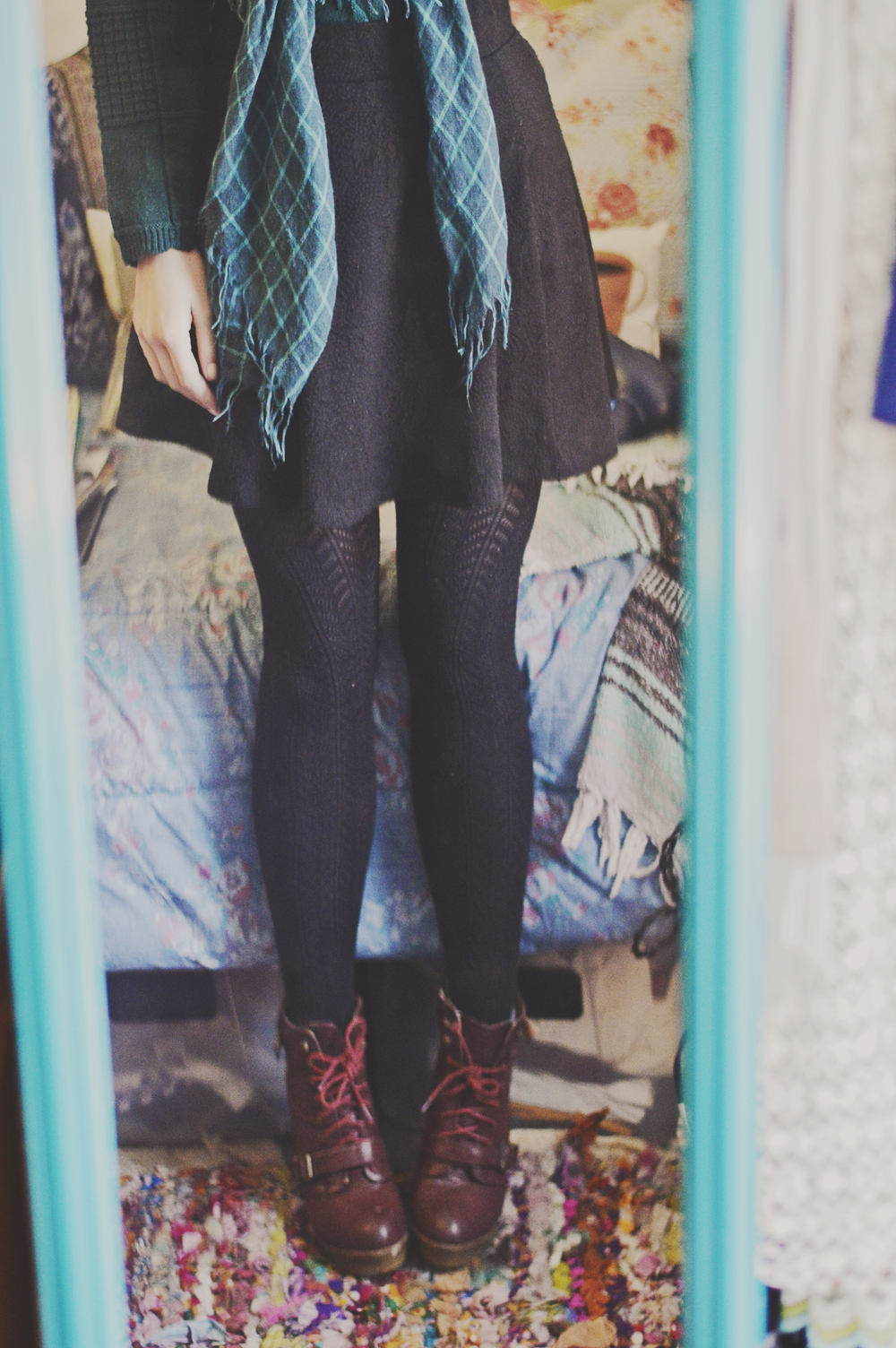 sweater: Goodwill / scarf: Goodwill / skirt: Forever 21 sale / boots: Goodwill $10 (Forever 21)