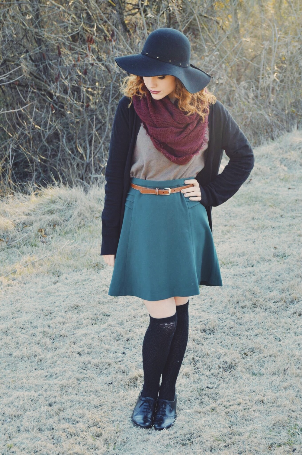hat: Urban Outfitters sale / scarf: Old Navy sale / cardigan: Goodwill $5 (J. Crew) / sweater: Goodwill / skirt: thrifted and gifted from my sister / belt: thrifted / socks: Urban Outfitters sale $5 / shoes: Community Chest $1