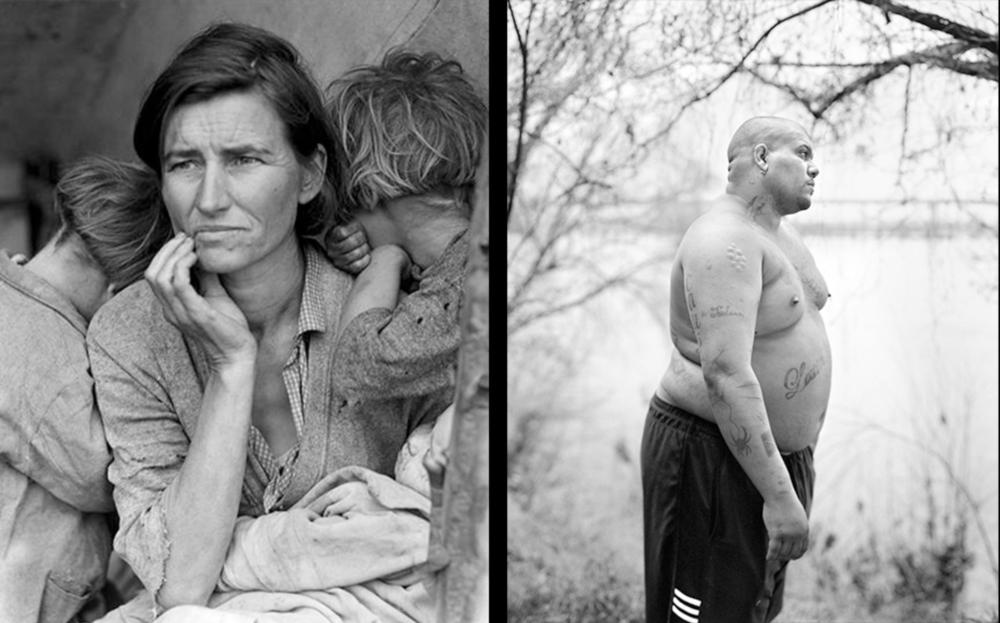 Credit: (l) Dorothea Lange, Migrant Mother, Nipomo, California, 1936 © The Dorothea Lange Collection, the Oakland Museum of California. (r) Vanessa Winship, Untitled from the series 'She Dances on Jackson', 2011-2012 © Vanessa Winship