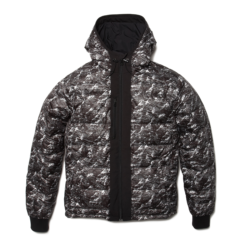 MAROON BELLS BLACK & WHITE CAMO DOWN JACKET - $950USD