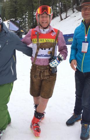 Marco Sullivan celebrates his retirement in Lederhosen. ( USSA )