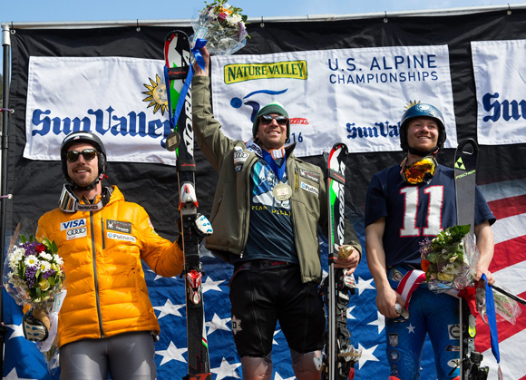 Men's slalom podium: Michael Ankeny (left) in third, winner David Chodounsky and second-place finisher Robby Kelley. (USSA)
