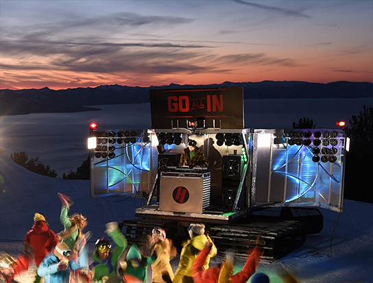 Heavenly's DJ Cat is pimped with 52 speakers for the ultimate on-snow party.