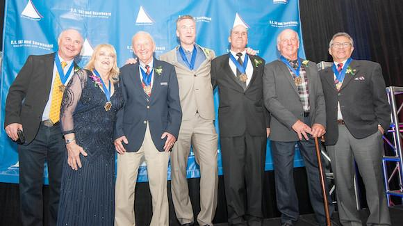 U.S. Ski and Snowboard Hall of Fame class of 2015 including (from left) Lessing Stern (Edgar Stern), Genia Fuller, Harry Kaiser, Chris Klug, Bob Salerno, Jim Martinson and David Ingemie. (USSA)