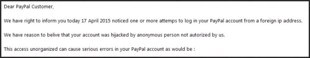 Paypal scam: Scammers have a terrible tone of voice