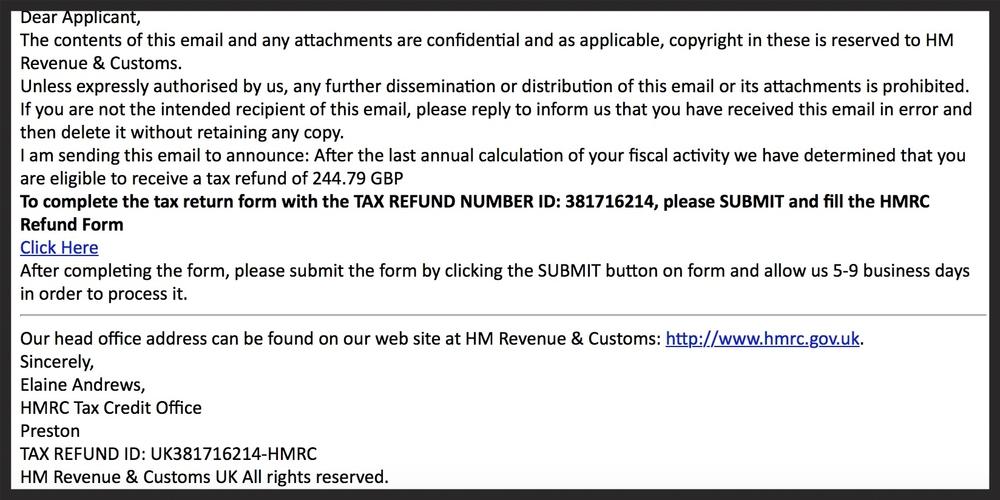HMRC: has the same tone of voice as scammers