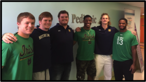 Hospital Visit September, 2015. Focus on someone other than yourself! Some of the guys took some time on a Wednesday to head out to Memorial Hospital to visit with the kids in the pediatric unit. There was no special occasion, no event planned… this was just a way to put a smile on some faces! The guys represented Notre Dame Football just the way we have come to expect. They were friendly and personable, they told stories and asked questioned and created a bright spot in the day for some families in the hospital!
