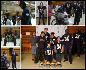 CAPS Fall Family Festival October 2015: The bye week is a time to rest and recover, but its also a great opportunity to bring joy and inspiration to the kids within the community! The entire Notre Dame Football Team joined Kelly Cares Foundation to spend time at the CAPS Fall Family Festival in Elkhart recently. Led by Brian and Paqui Kelly, the guys spent a few hours playing games, taking pictures, signing autographs and listening to a story or two, bringing smiles to some precious faces!  Child And Parent Services is a nonprofit organization dedicated to the cause of ensuring that every child in Elkhart County has the benefit of safe, stable, nurturing relationships in their childhood. Through education, advocacy and intervention, CAPS works with others in the community to build strong families and safe environments.