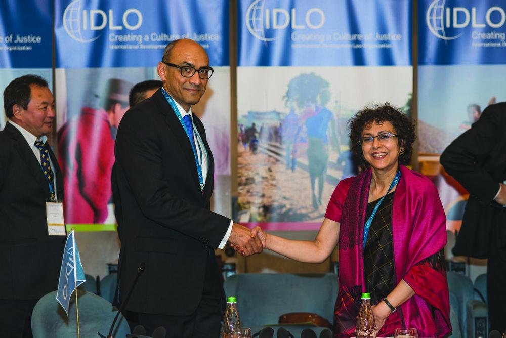 H.E. Nadeem Riyaz, Pakistan Ambassador, and Ms. Irene Khan. Pakistan became an IDLO Member State in 2015. © IDLO