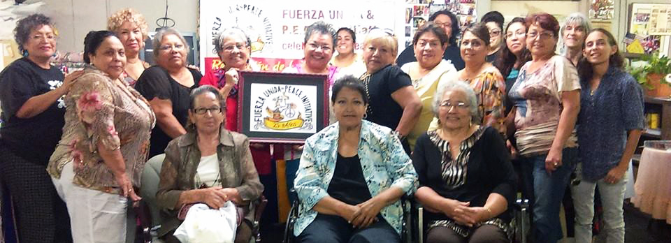 25 Años de Fuerza Unida & P.E.A.C.E. Initiative y La Revolución de la Mujer Mexicana Arte Unveiling. Center Bottom Row: Mary Agnes Rodriguez, Artist | September 16, 2015