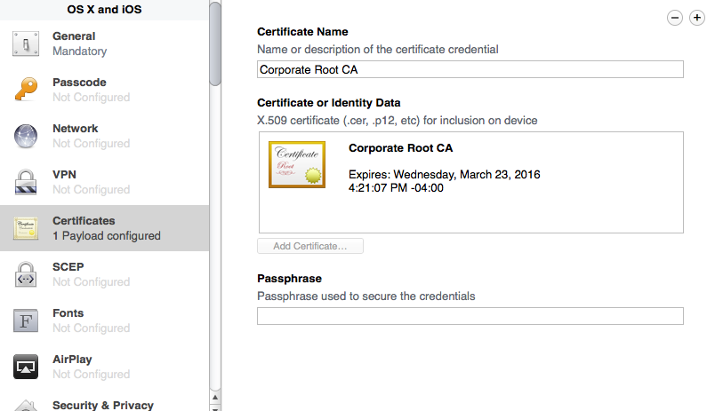certificate payload