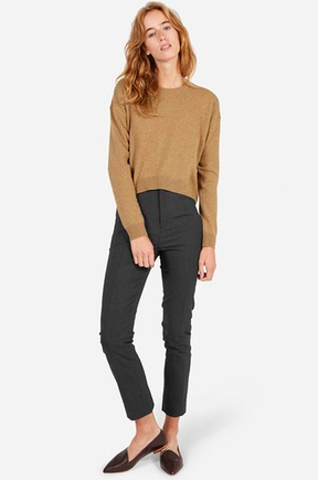 Everlane Cashmere Cropped Sweater in Camel