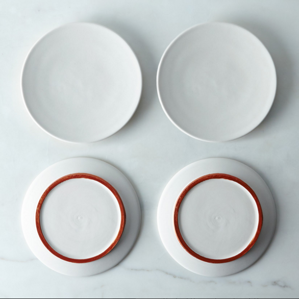 White and copper ceramic plates