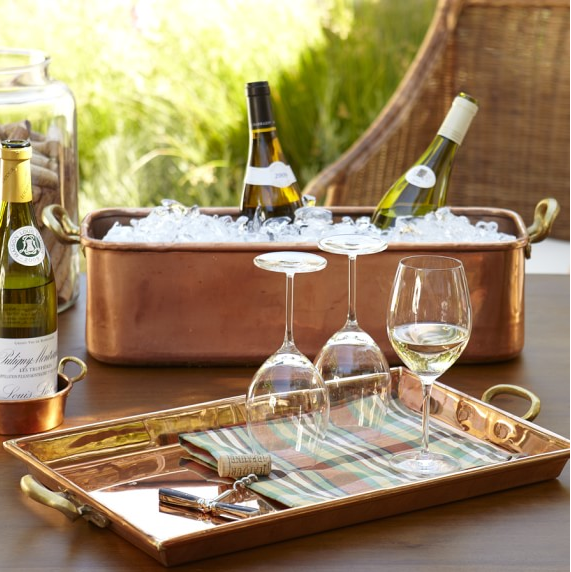 Copper bar tray and wine bucket