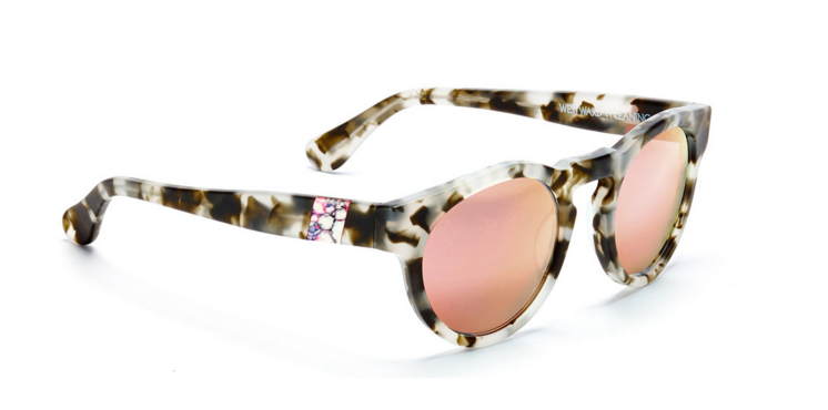 Westward Leaning Sunglasses: Voyager 15 with rose gold lenses