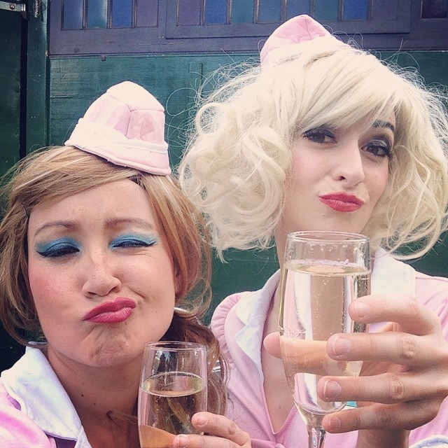 #flashbackfriday! Bubbles & ridiculous pouts from the waitresses behind our tent @thegardenofud this year! #edfringe #ADLfringe #bubblywine #fringelife #deadmanlabel #fbf #blueeyeshadow #twinpeaks #pleasancecourtyard #yetiscomedy #poutymcpoutface #haaa