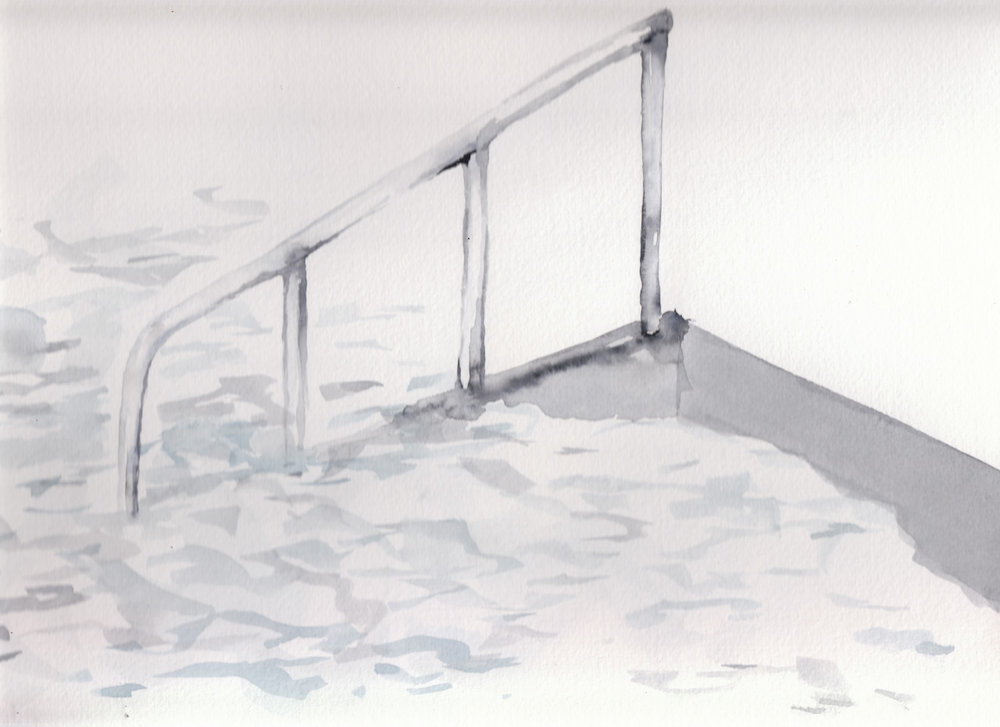 steps into the sea water colouring tests