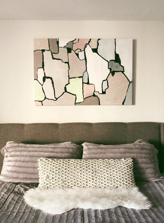 """Borders"", 2018  Acrylic on canvas,  32"" x 48""   $750"
