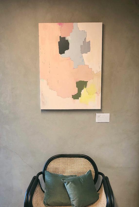 """""""BRDR01"""", 2018  Acrylic on canvas, 27"""" x 36  $375"""