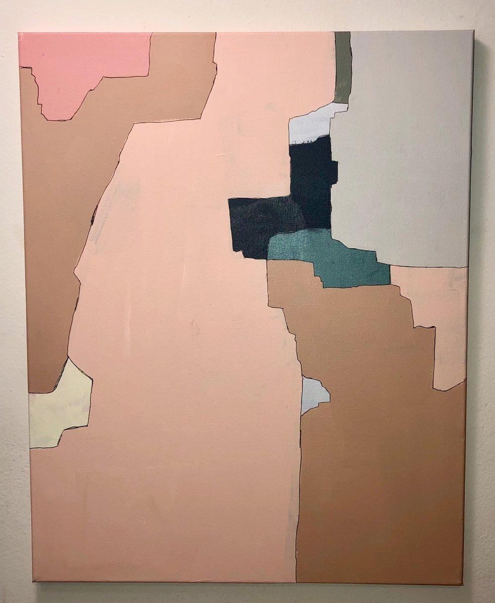 """Divided, 2018  Acrylic on canvas, 24"""" x 30""""  $275"""