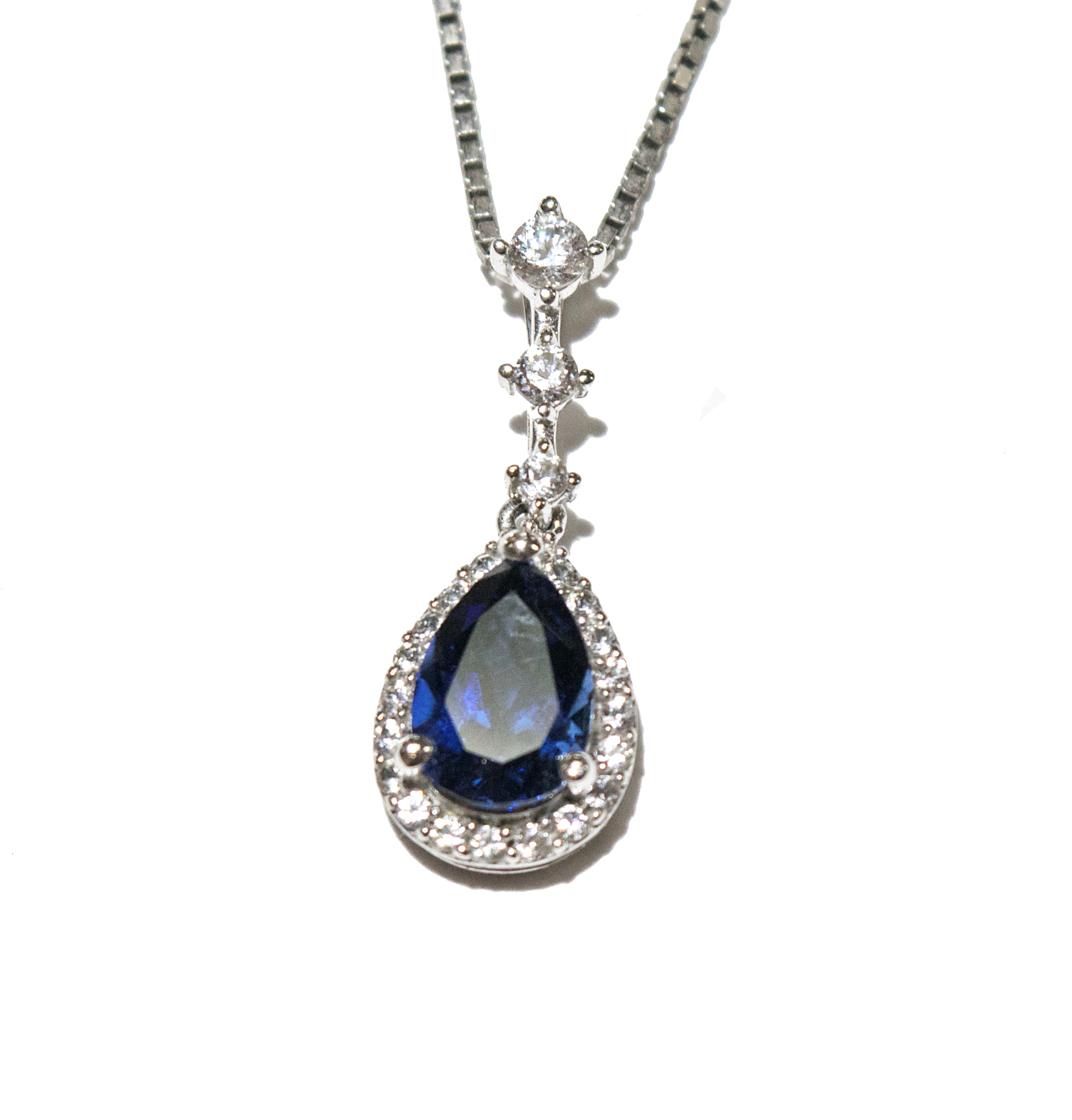 fcee329361f Pear Shaped Blue Sapphire Pendant with White Sapphire Halo. Pear Dangle  with Halo.jpg