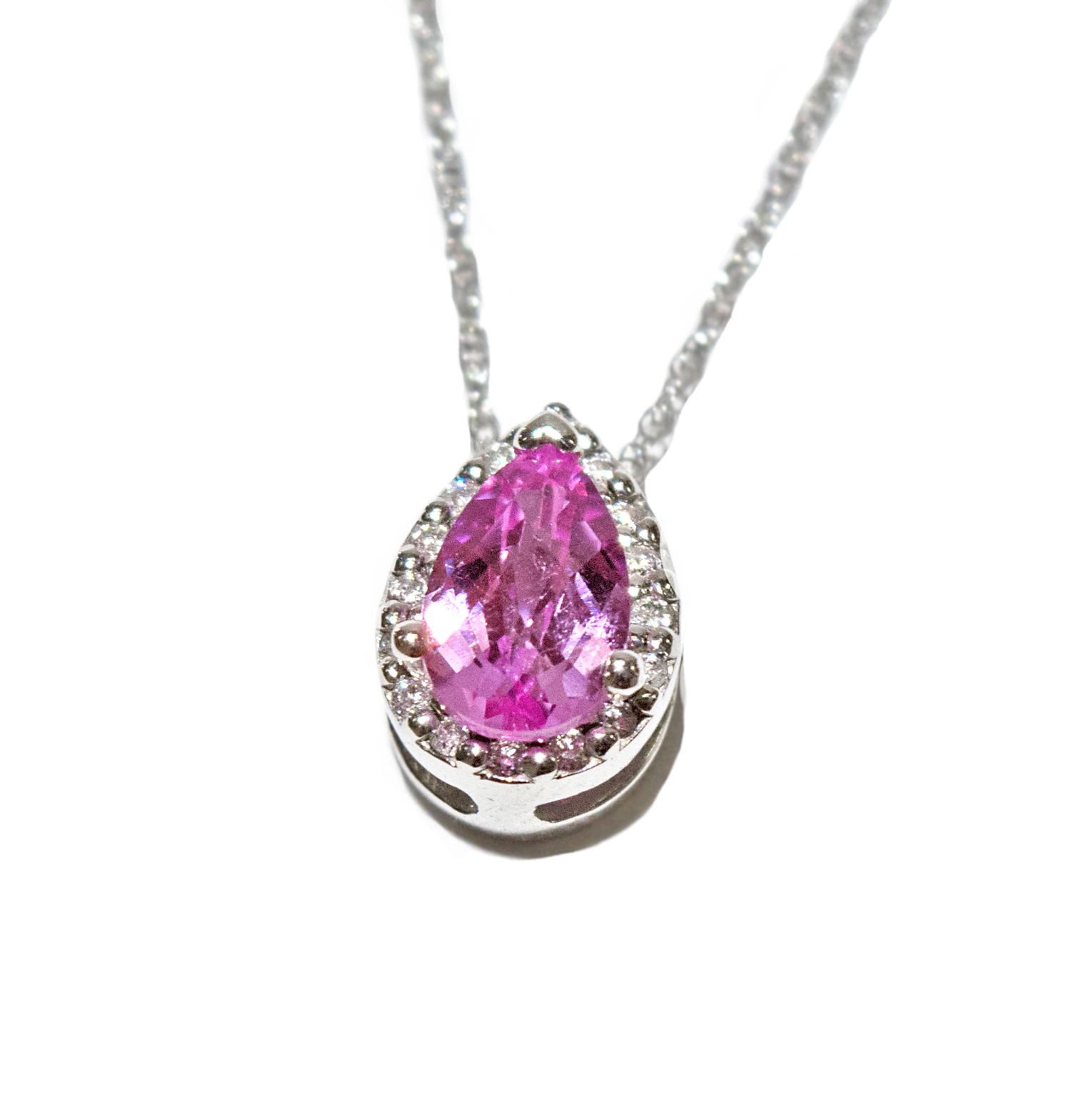 a9d9b6512a63f Pink Sapphire Pear Pendant with Halo — Home