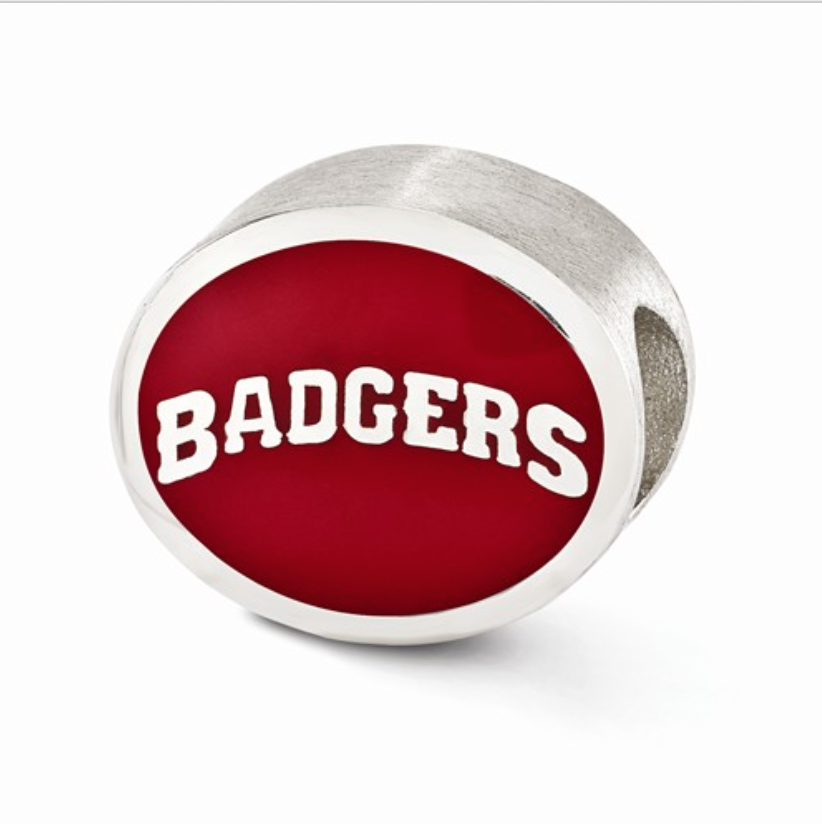 5e3893006 Red & White Double Sided Wisconsin Badger Chamilia Bead — Home