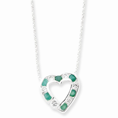 Emerald cz silver heart necklace condon jewelers emerald cz silver heart necklace aloadofball Images