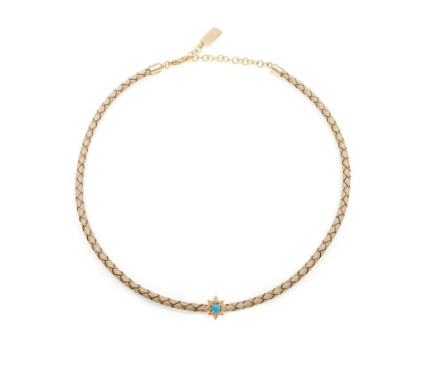 BRAIDED STARBURST MELANIE AULD CHOKER- NATURAL/TURQUOISE