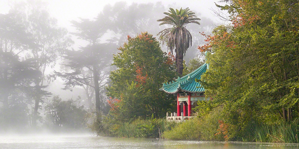 Foggy Stow Lake Pavilion