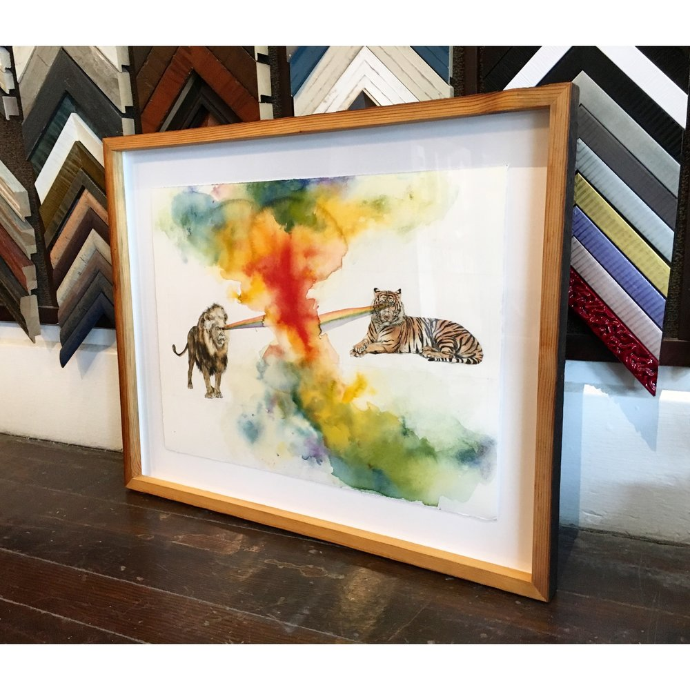 Underglass underglass custom picture framing san francisco news you gotta zoom in on the faces this piece of art is called mark twain lion vs jay z tiger we floated the paper it in a beautiful reclaimed pine frame jeuxipadfo Image collections