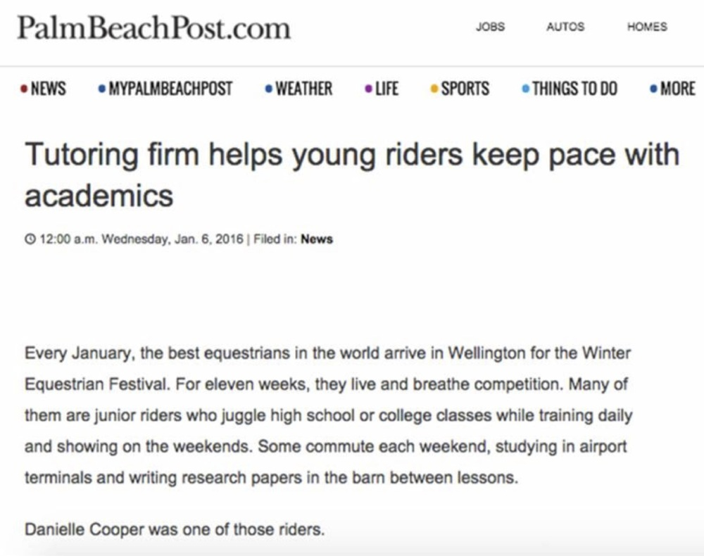 Grand Prix Tutoring Feature: Palm Beach Post, January 6th, 2016