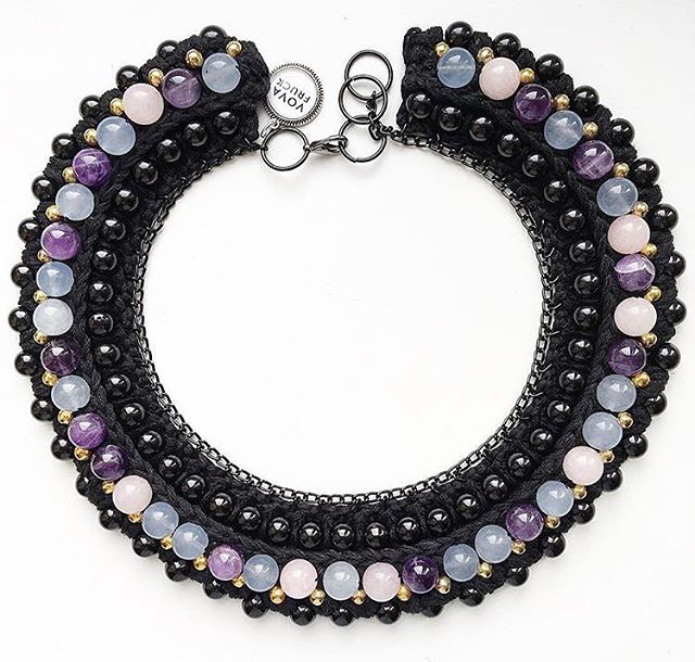 A very precious #necklace with  #amethyst #pinkquartz and #blueagate  #vovafruck #handmade #handmadejewelry #statementnecklace