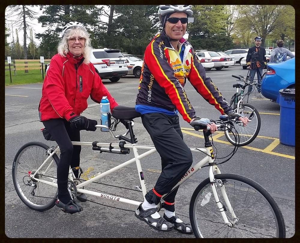 Gerry and Dan, riding tandom!