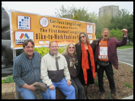 May 7, 2016 Bike-to-Work Fashion Parade. From left to right: Mark, Chris, Sharon (blog author), Sylvia and Bill.