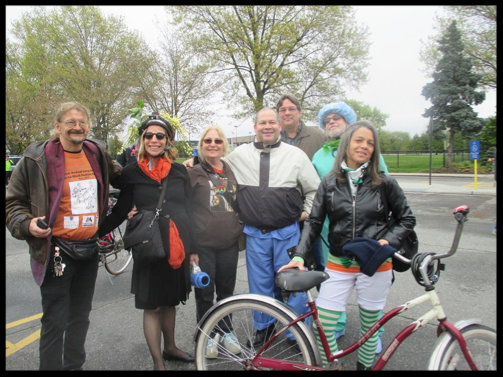 May 7, 2016 Bike-to-Work Fashion Parade. From left to right: Bill, Sylvia, Sharon (blog author), Chris, Mark, Steve and Kelly.