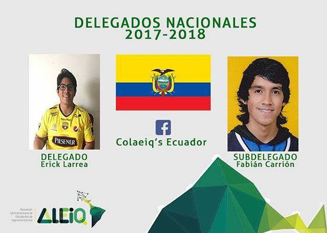 Erick Larrea y Fabián Carrión son los delegados de Ecuador para el período 2017-2018. Puedes seguirlos  en su página de Facebook Colaeiq's Ecuador y Entérate de su organización rumbo al COLAEIQ 2018. #EcuadorEsALEIQ
