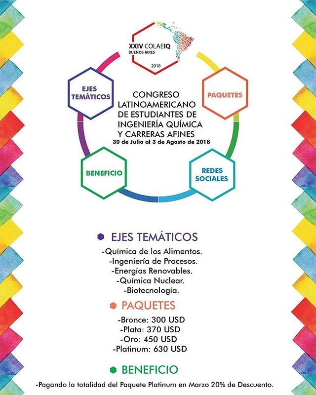 Les recordamos el costo de los paquetes del XXIV COLAEIQ Buenos Aires, Argentina 2018.  El descuento del 20% sólo será para el pago completo del paquete Platinum en el mes de marzo. #COLAEIQ2018 #NosVamosParaArgentina