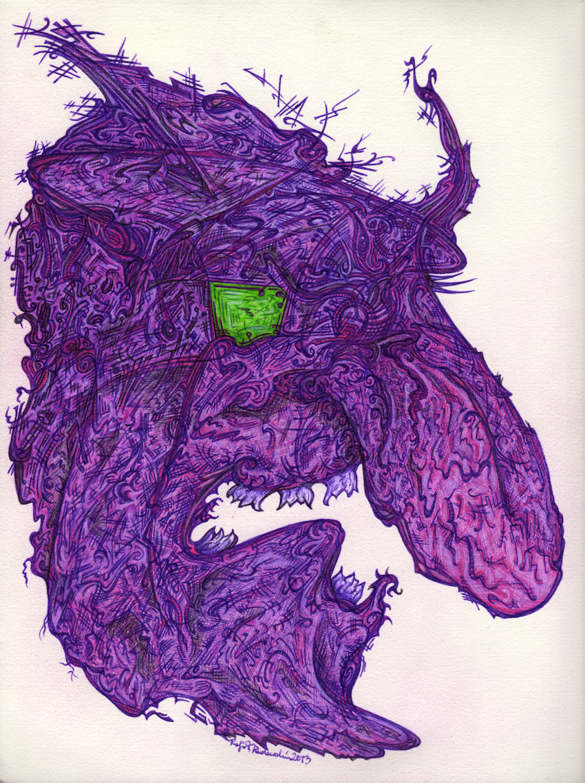 """Cyber Troll"", 2013. Ink on paper. Cyber Troll, devourer of creativity."
