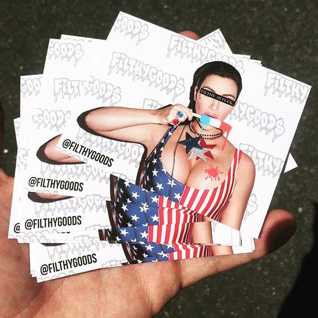 Who wants stickers? DM for details... #FilthyGoods x #kimkardashian #filthyasfuck #stickerslap #kimk #filthy #usa #filthysummer #summer16 #kardashian #kardashians #kimkardashianwest #pabloswife #🍑 #filth #redwhiteblue