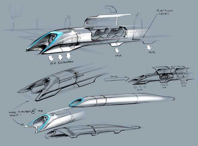 Design sketches of Elon Musk's proposed Hyperloop high-speed tube transport system. (Image: SpaceX)