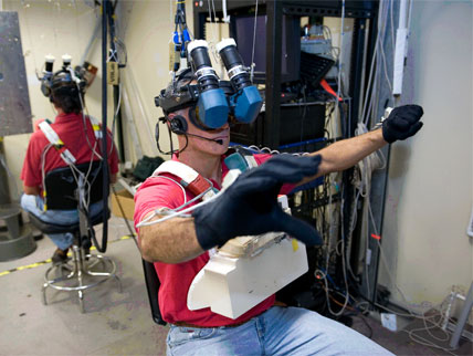 NASA uses virtual reality to help astronauts train for missions in outer space. (via   NASA  )