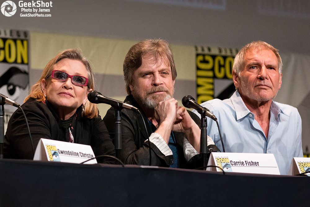 Carrie Fisher, Mark Hamill, and Harrison Ford at San Diego Comic-con in 2015.