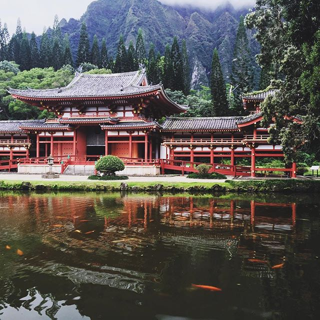 The Byodo-In Temple in Kahaluu, Oahu is a replica of a 950 year old temple in Japan. It was built in 1968 to commemorate 100 years of Japanese immigrants to Hawaii. (vis   SQ Instagram  )