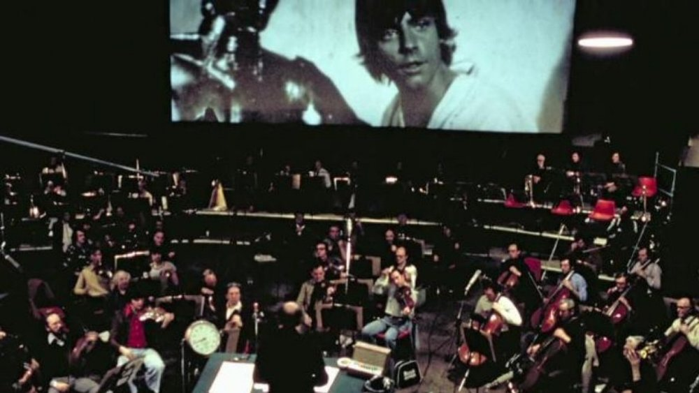 Recording the score for   Star Wars: A New Hope   (John Williams is bottom center).
