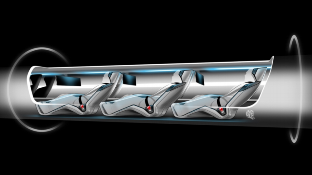 Cutaway view of a Hyperloop capsule full of passengers moving through the transport tube. (Image: Hyperloop / Tesla Motors)