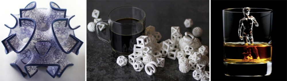 3D printed edibles: cake topper, sugar cubes, and ice cube. (Images:  3DSystems  and  TBWAHakuhodo for Suntory Whisky )